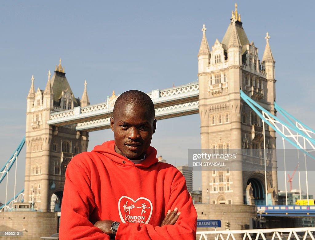 Elite Men's marathon runner Abel Kirui of Kenya poses for photographers during a photocall in London, on April 23, 2010. The London Marathon will take place on Sunday April 25.