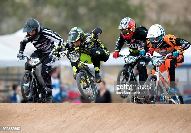 Elite Men's racers Jeremy Smith Chase BMX's Connor Fields Crupi's Federico Villegas of Argentina and Factory Clayborn's James Palmer of Canada hit...