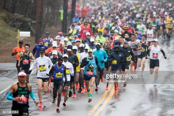 Elite men's runners start running the Boston Marathon in Hopkinton Mass Apr 16 2018