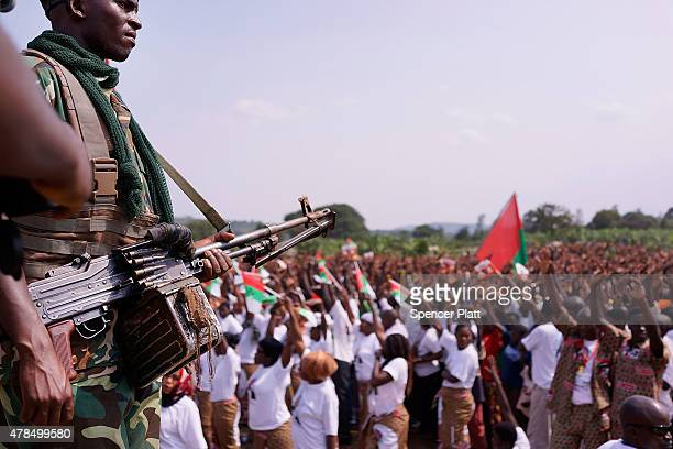 Elite military units keep guard as President Pierre Nkurunziza kicks off his official campaign for the presidency at a rally on June 25 2015 in...