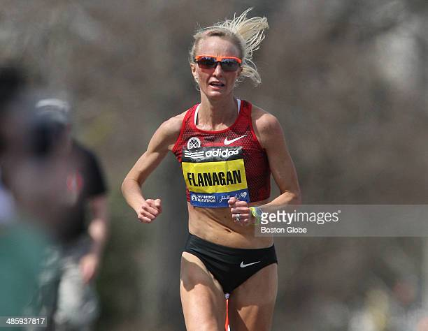 Elite runner Shalane Flanagan climbs Heartbreak Hill in Newton, Mass. During the 118th Boston Marathon on Monday, April 21, 2014. Flanagan finished...
