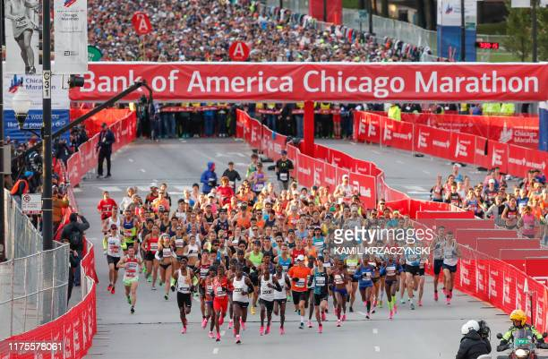 Elite runners compete during the 2019 Bank of America Chicago Marathon on October 13 2019 in Chicago Illinois