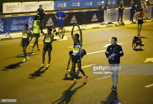 Elite runners warm up before the Standard Chartered Dubai Marathon 2017 in Dubai United Arab Emirates on January 20 2017