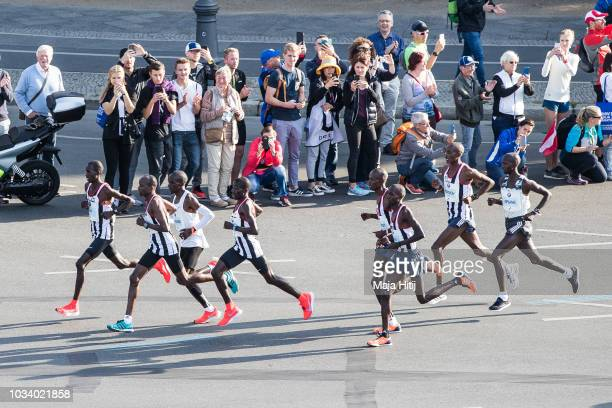 Elite runners Wilson Kipsang and Eliud Kipchoge with pacers at the start of Berlin marathon on September 16 2018 in Berlin Germany