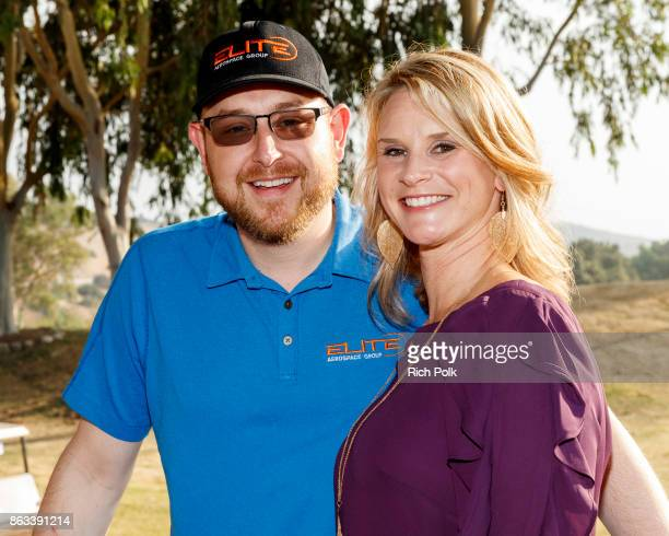 Elite Veteran Initiative Boardmember Robert Gunton and Apyrl Smith attend the Swing Fore The Vets Charity Golf Tournament on October 19 2017 in...