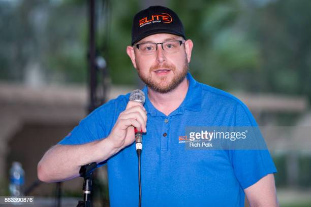 Elite Veteran Initiative Boardmember Robert Gunton speaks on stage at the Swing Fore The Vets Charity Golf Tournament on October 19 2017 in Rancho...