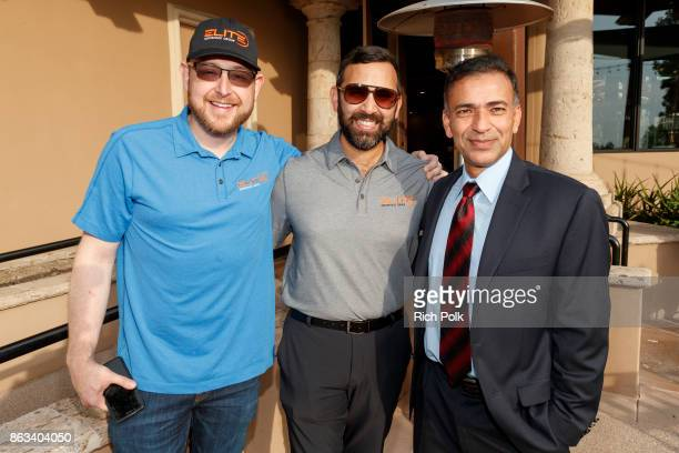 Elite Veteran Initiative Boardmember Robert Gunton Zeeshawn Zia and a guest attend the Swing Fore The Vets Charity Golf Tournament on October 19 2017...
