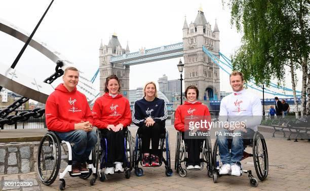 Elite Wheelchair athletes David Weir Tatyana McFadden Shelly Woods Amanda McGrory and Josh Cassidy during the Virgin London Marathon photocall at the...