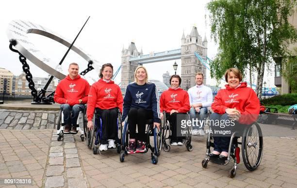 Elite Wheelchair athletes David Weir Tatyana McFadden Shelly Woods Amanda McGrory and Josh Cassidy with commentator Dame Tanni Grey Thompson during...