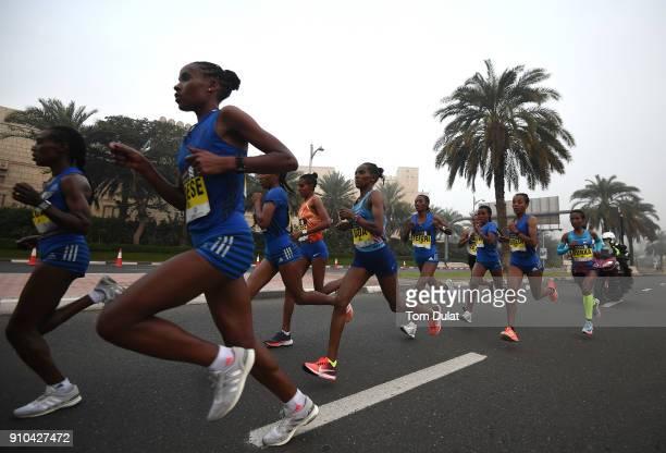 Elite Women compete during the Standard Chartered Dubai Marathon on January 26 2018 in Dubai United Arab Emirates