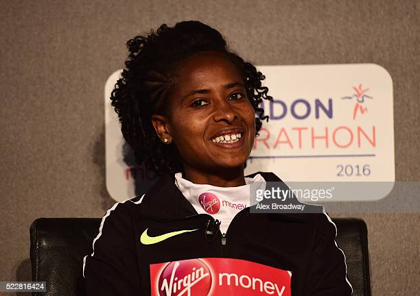 Elite women competitor Tigist Tufa of Ethiopia attends a press conference ahead of the Virgin Money London Marathon at The Tower Hotel on April 21,...