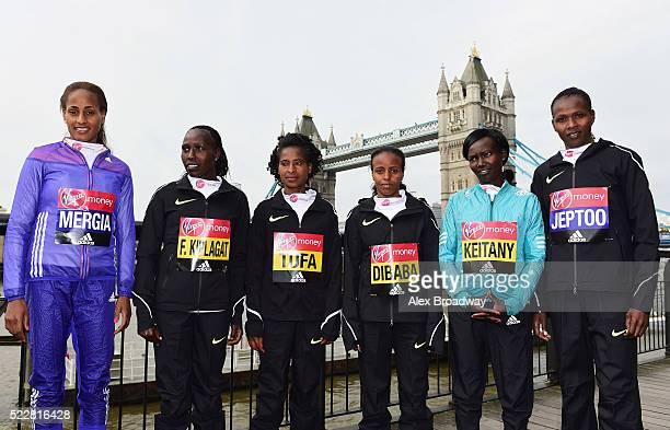 Elite women competitors Aselefech Mergia of Ethiopia, Florence Kiplagat of Kenya, Tigist Tufa of Ethiopia, Mare Dibaba of Ethiopia, Mary Keitany of...