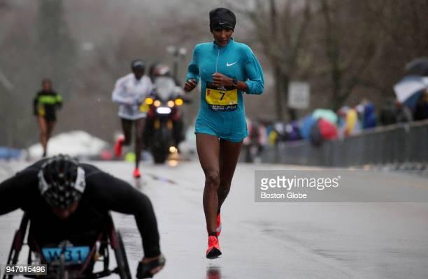 Elite women's runner Mamitu Daska on Heartbreak Hill during the Boston Marathon in Newton Mass April 16 2018