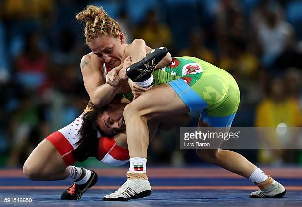 Elitsa Atanasova Yankova of Bulgaria competes against Patricia Alejandra Bermudez of Argentina during a Women's Freestyle 48kg Bronze Medal bout on...