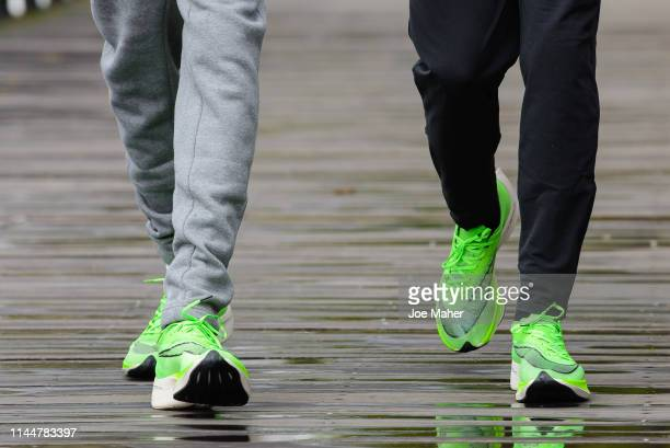 Eliud Kipchoge and Sir Mo Farah attend the Elite men's photocall ahead of Sunday's London Marathon at The Tower Hotel on April 24, 2019 in London,...