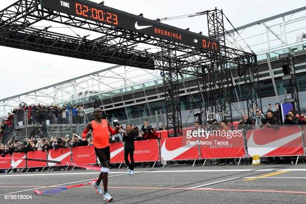 Eliud Kipchoge at the finish line of the Nike Breaking2: Sub-Two Marathon Attempt at Autodromo di Monza on May 6, 2017 in Monza, Italy.