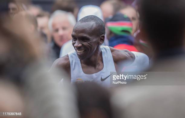 Eliud Kipchoge celebrates his victory after he made history by runing sub 2 hr marathon during INEOS 159 Challenge on Oct 12 2019 at Vienna Austria