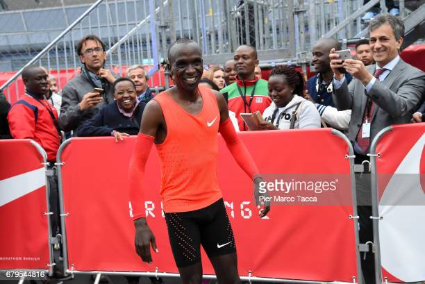 Eliud Kipchoge celebrates the Nike Breaking2 SubTwo Marathon Attempt at Autodromo di Monza on May 6 2017 in Monza Italy