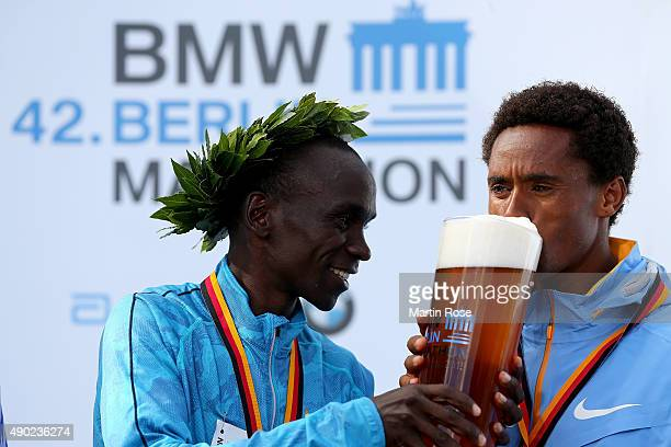 Eliud Kipchoge of Kenia celebrate with Feyisa Lilesa of Kenia after the 42nd BMW Berlin Marathon during the 42nd BMW Berlin Marathon on September 27...
