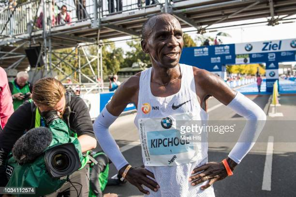 Eliud Kipchoge of Kenya celebrates as he wins the Berlin Marathon 2018 in a new world record time of 2:01:39 on September 16, 2018 in Berlin, Germany.