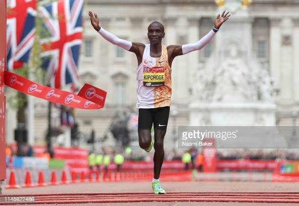 Eliud Kipchoge of Kenya crosses the line to win the Men's Elite race during the 2019 Virgin Money London Marathon in the United Kingdom on April 28...