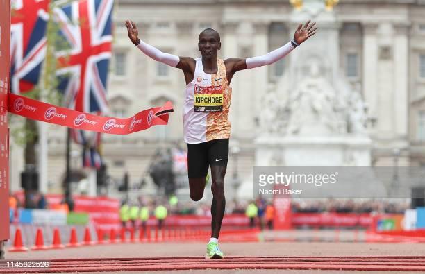 Eliud Kipchoge of Kenya crosses the line to win the Men's Elite race during the 2019 Virgin Money London Marathon in the United Kingdom on April 28...
