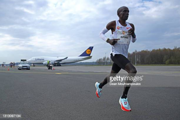 Eliud Kipchoge of Kenya winner of the gold medal competes during the NN Mission Marathon held at Airport or Vliegveld Twente on April 18, 2021 in...