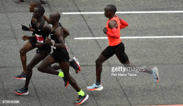Eliud Kipchoge runs during the Nike Breaking2 SubTwo Marathon Attempt at Autodromo di Monza on May 6 2017 in Monza Italy