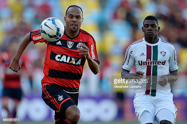 Elivelton of Fluminense battles for the ball with Alecsandro of Flamengo during the match between Fluminense and Flamengo as part of Brasileirao...