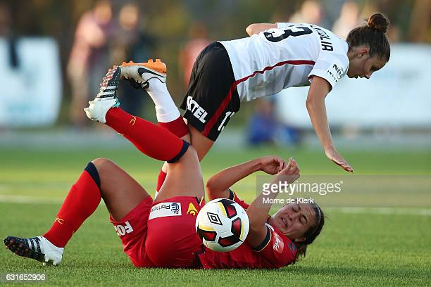 Eliza Ammendolia of Western Sydney falls over Grace Abbey of Adelaide United during the round 12 WLeague match between Adelaide United and the...