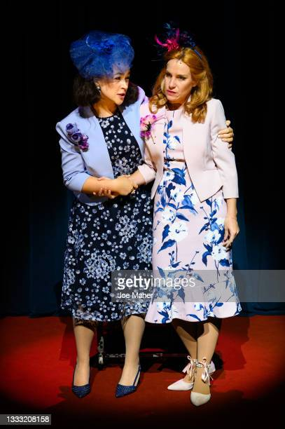 """Eliza Butterworth as Princess Eugenie and Jenny Rainsford as Princess Beatrice during dress rehearsals of the play """"The Windsors: Endgame"""" at the..."""