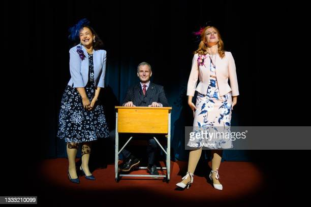 """Eliza Butterworth as Princess Eugenie, Tim Wallers as Prince Andrew and Jenny Rainsford as Princess Beatrice during dress rehearsals of the play """"The..."""