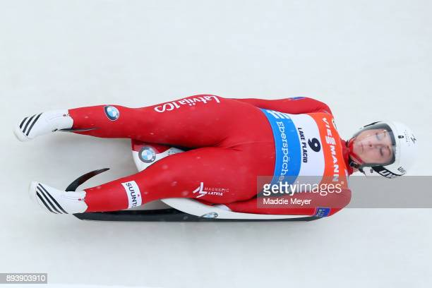 Eliza Cauce of Latvia completes her second run in the Women's competition of the Viessmann FIL Luge World Cup at Lake Placid Olympic Center on...