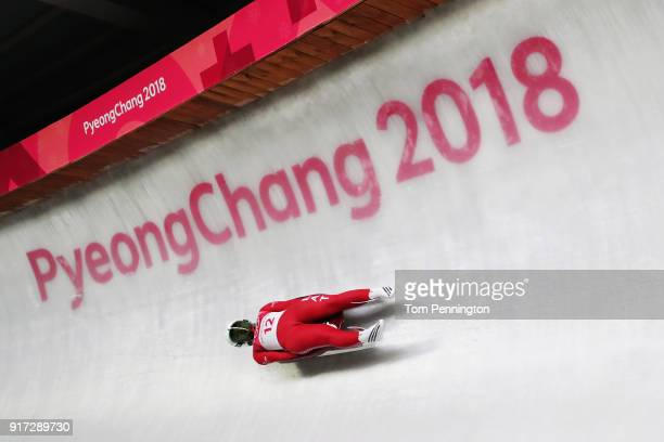 Eliza Cauce of Latvia slides during the Women's Singles Luge run 1 at Olympic Sliding Centre on February 12, 2018 in Pyeongchang-gun, South Korea.
