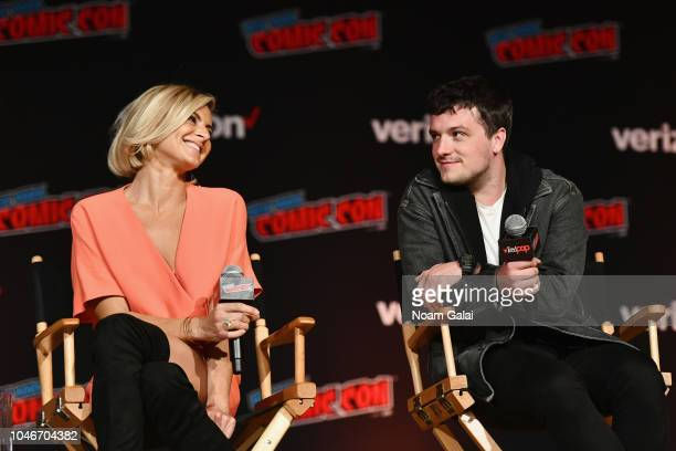 Eliza Coupe and Josh Hutcherson speak onstage during Hulu and Seth Rogan's Future Man panel during New York Comic Con at Jacob Javits Center on...