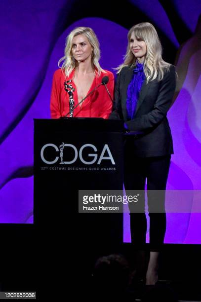 Eliza Coupe and Lucy Punch speak onstage during the 22nd CDGA at The Beverly Hilton Hotel on January 28 2020 in Beverly Hills California