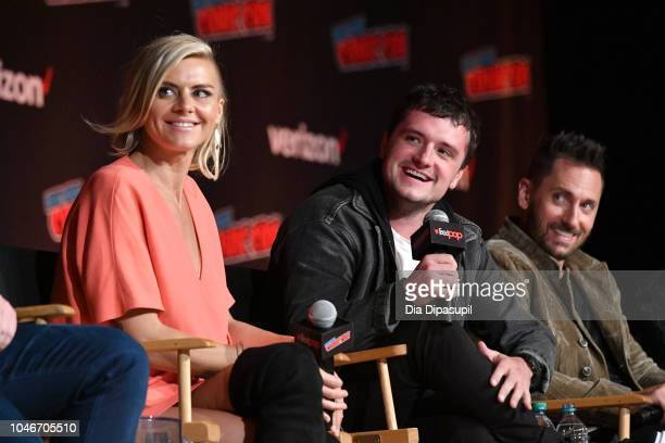 Eliza Coupe Josh Hutcherson and Derek Wilson speak onstage during Hulu and Seth Rogen's Future Man panel during New York Comic Con at Jacob Javits...