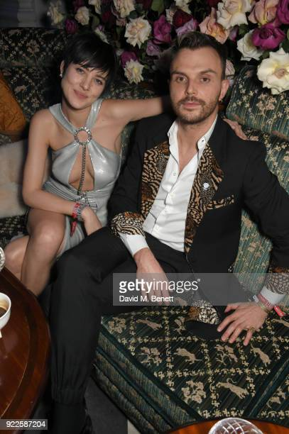 Eliza Cummings and Theo Hutchcraft attend the Universal Music BRIT Awards AfterParty 2018 hosted by Soho House and Bacardi at The Ned on February 21...