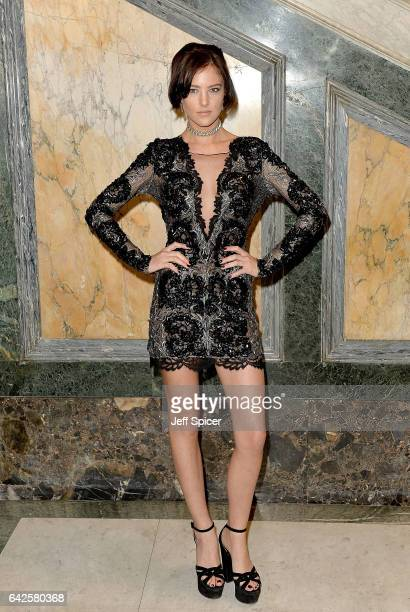 Eliza Cummings attends the Julien Macdonald show during the London Fashion Week February 2017 collections on February 18 2017 in London England