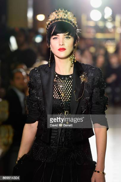 Eliza Cummings walks the Dolce Gabbana Italian Christmas catwalk show at Harrods on November 2 2017 in London England
