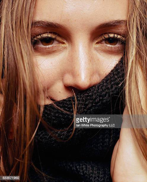 Eliza Dushku Covering Face with Turtleneck