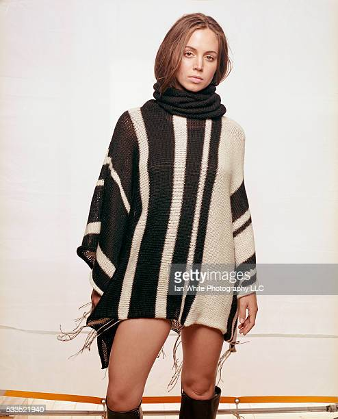 Eliza Dushku in Striped Poncho