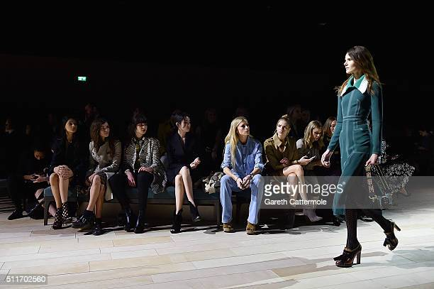 Eliza Fairbanks Bella Yentob Misha Hart Han Hyojoo Laura Bailey Elena Perminova and Donna Airwearing Burberry at the Burberry Womenswear February...
