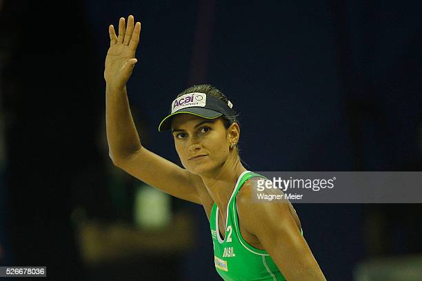 Eliza Maia of Brazil reacts during main draw match against Brazil during the FIVB Fortaleza Open on Futuro Beach on April 30 2016 in Fortaleza Brazil