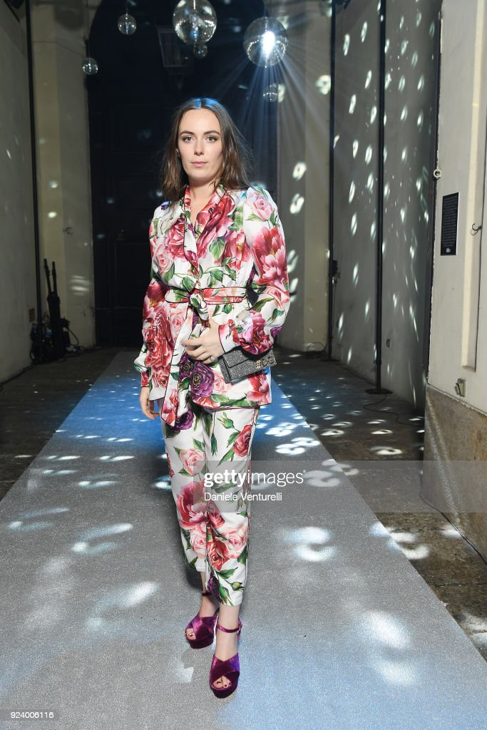Eliza Manners attends the Dolce & Gabbana Secret & Diamond show during Milan Fashion Week Fall/Winter 2018/19 on February 24, 2018 in Milan, Italy.