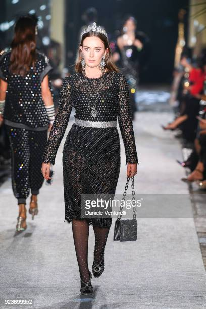 Eliza Manners walks the runway at the Dolce Gabbana show during Milan Fashion Week Fall/Winter 2018/19 on February 24 2018 in Milan Italy