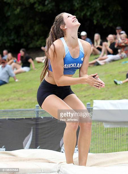 Eliza McCartney of Auckland celebrates breaking the New Zealand and Oceania record in the Womens Pole Vault Final during the 2016 National Track...