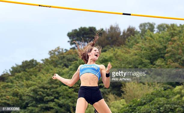 Eliza McCartney of Auckland celebrates breaking the New Zealand record in the Womens Pole Vault Final during the 2016 National Track Field...