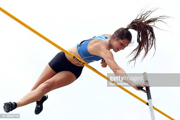 Eliza McCartney of Auckland competes and ultimately breaks the New Zealand and Oceania record in the Womens Pole Vault Final during the 2016 National...