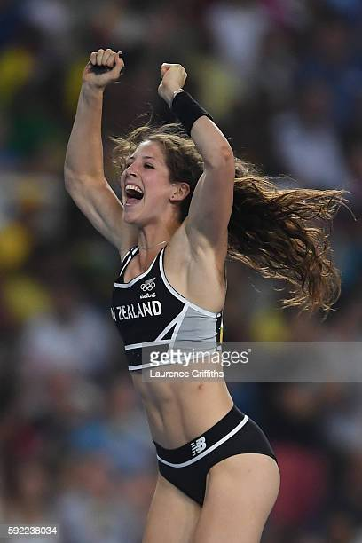 Eliza Mccartney of New Zealand celebrates in the Women's Pole Vault Final on Day 14 of the Rio 2016 Olympic Games at the Olympic Stadium on August 19...